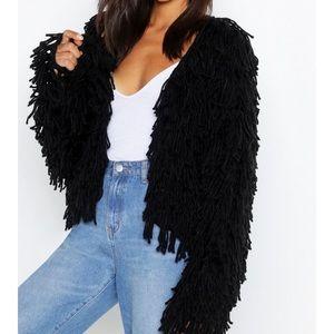 NEW BOOHOO black shaggy chunky cardigan